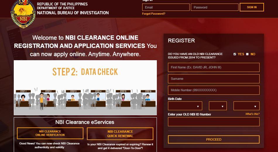 NBI clearance online verification