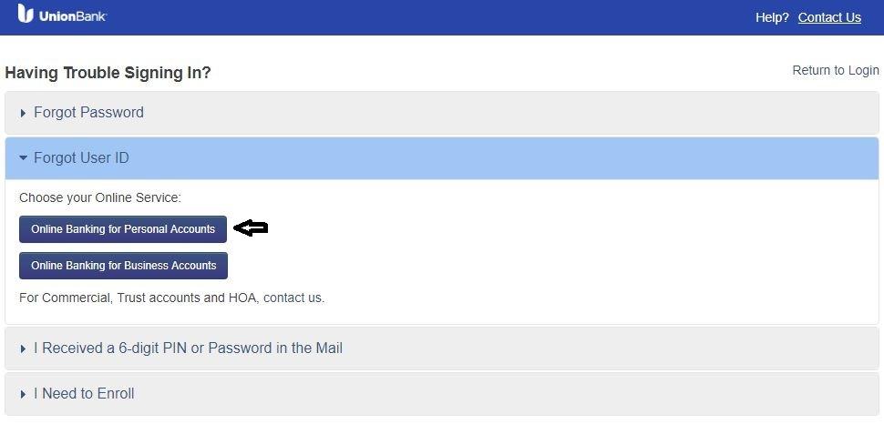 UBOC Login forgot User ID 2