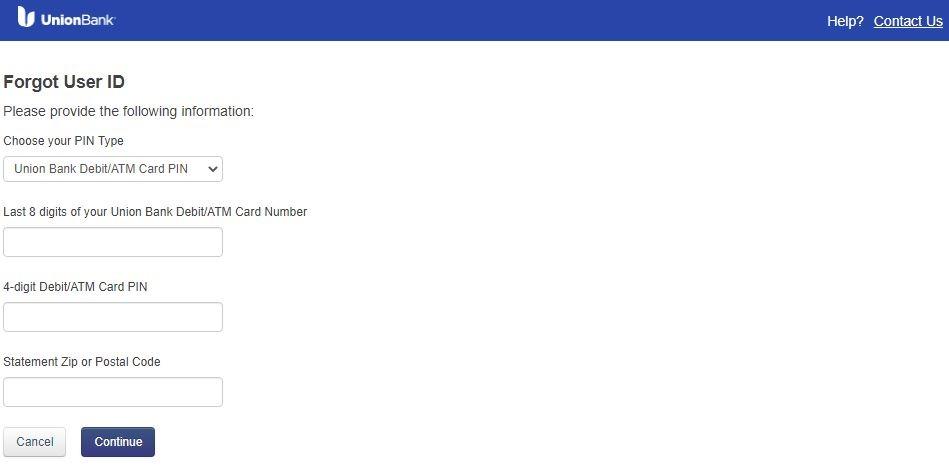 UBOC Login forgot User ID 3