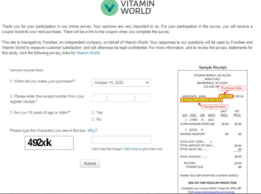 Vitamin World Guest Survey