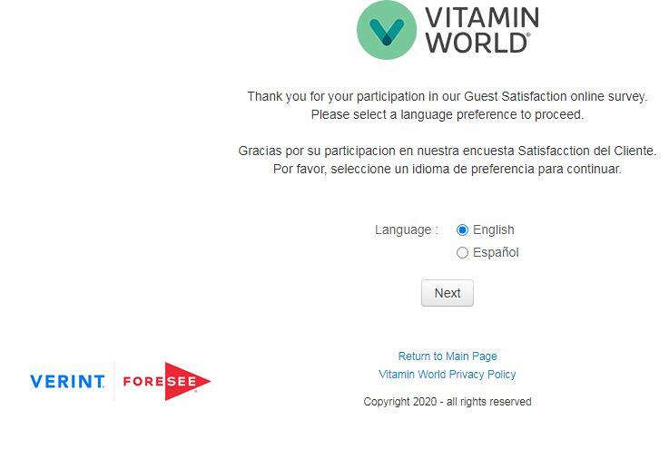 www.vitaminworld.comsurvey