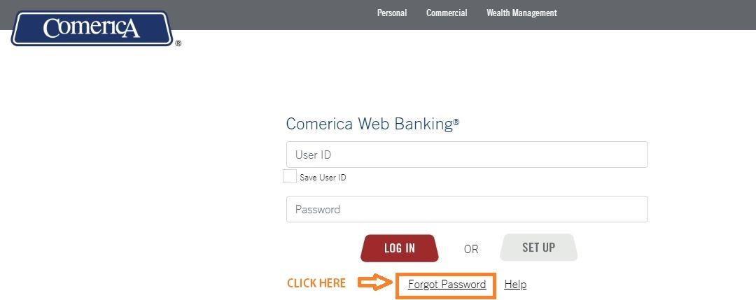 Comerica Web Banking forgot password 1