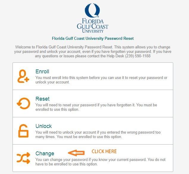 FGCU Canvas change password 1