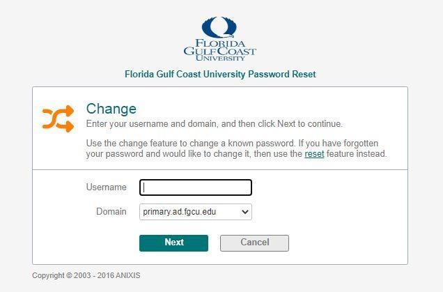 FGCU Canvas change password 2