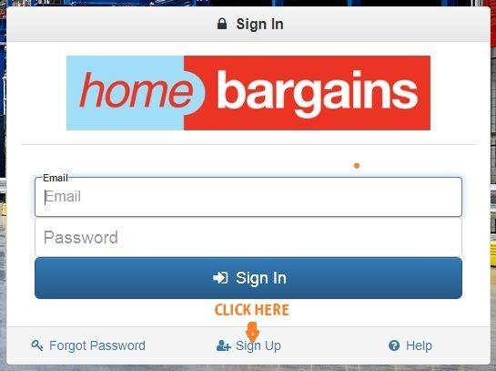Home Bargains Portal sign up 1