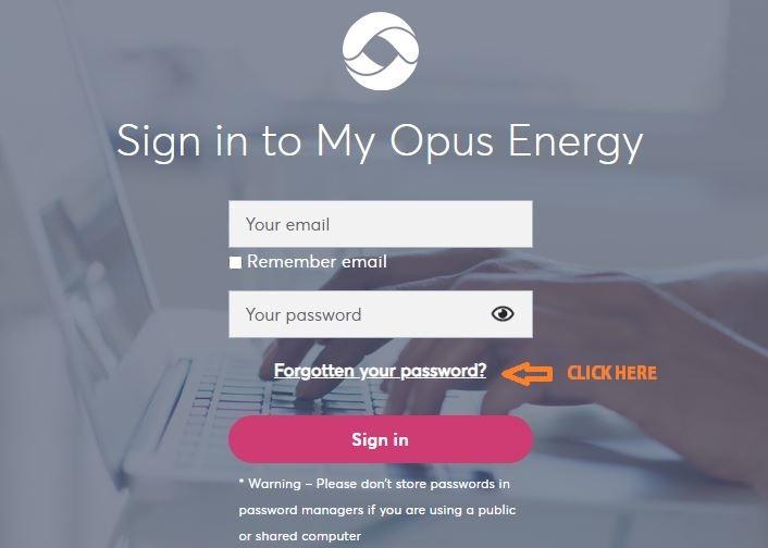 Opus Energy forgot password 1