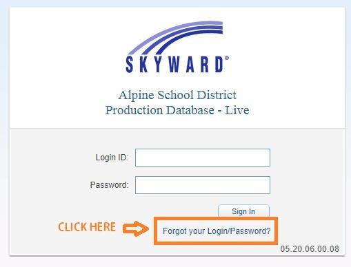 Skyward Alpine School District forgot password 1