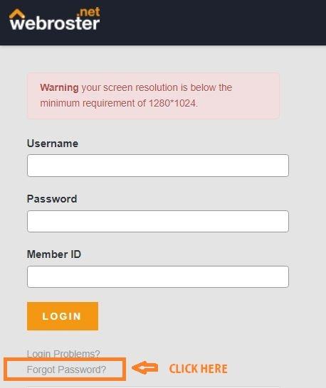 Webroster Login UK forgot password 1