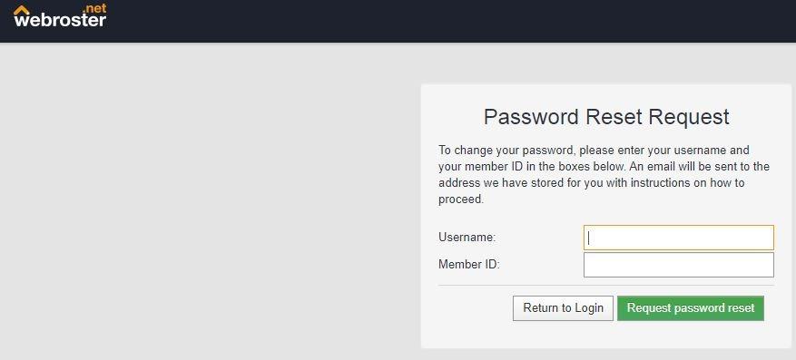 Webroster Login UK forgot password 2