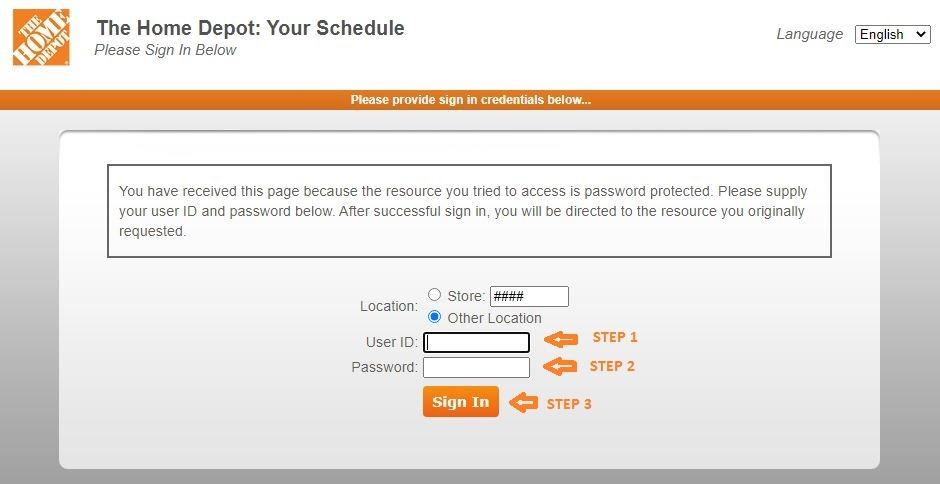 Home Depot Schedule login