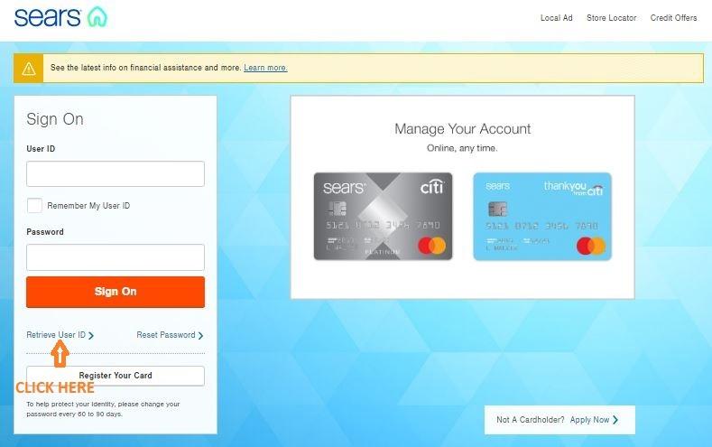Sears Credit Card Retrieve User ID 1