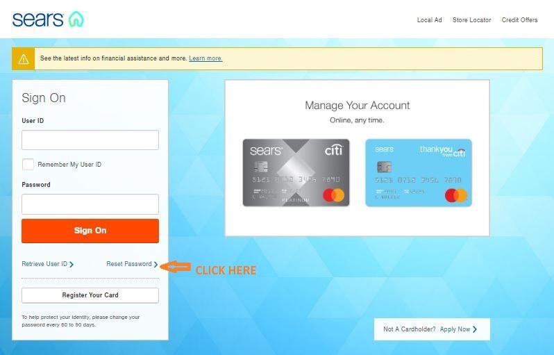 Sears Credit Card reset password 1