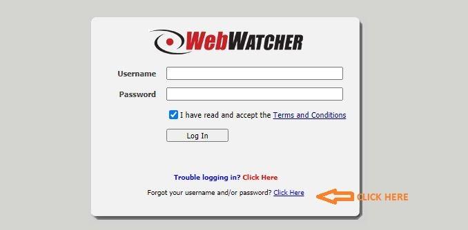 Webwatcher Login forgot password 1