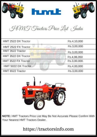 HMT Tractors Price List in India