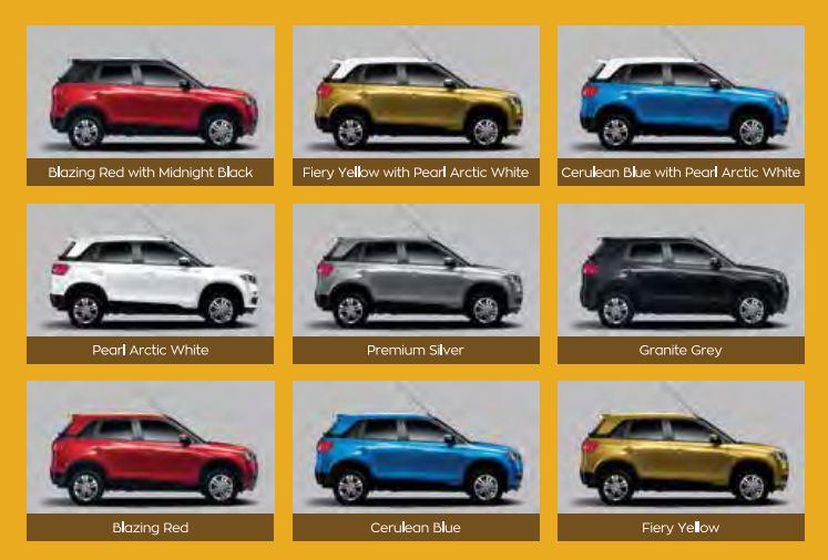 Maruti Suzuki Vitara Brezza car colors