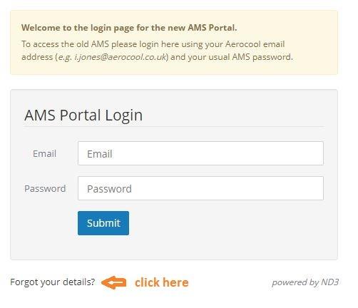 AMS Login Portal forgot password 1