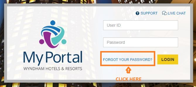 My Portal Wyndham Login forgot password 1