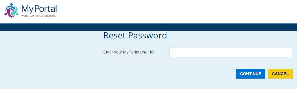 My Portal Wyndham Login forgot password 2
