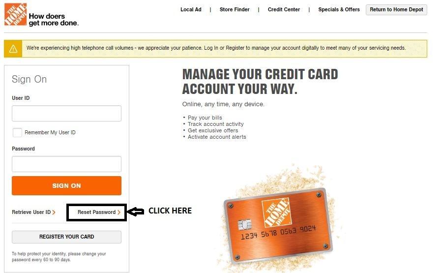 Home Depot Credit Card Forgot Password